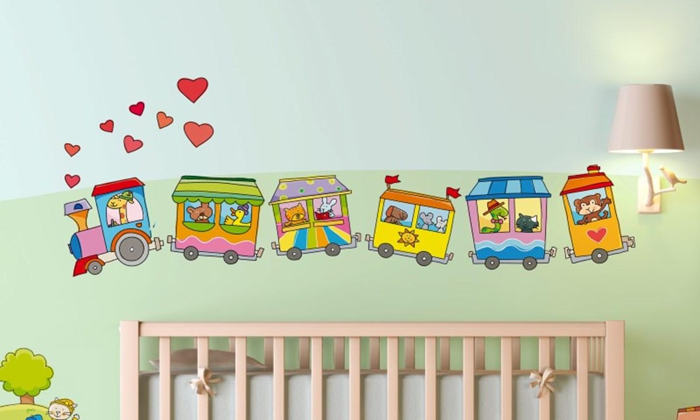 Stickers murali bambini cameretta il trenino a vapore - Decorazioni murali camerette ...